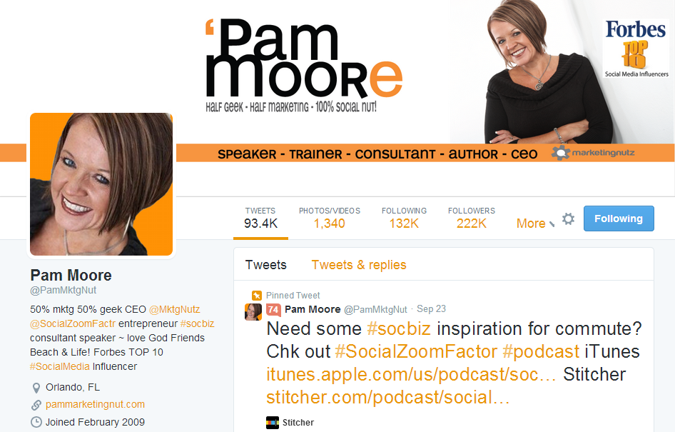 Great Twitter Profile example @PamMktgNut